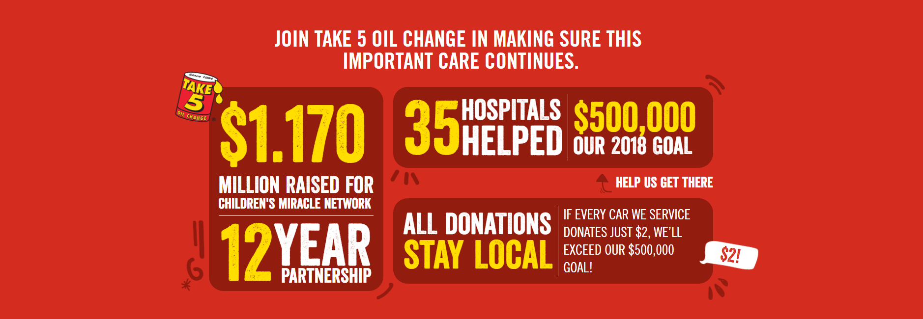 Take 5 to Raise $500,000 One Oil Change at a Time